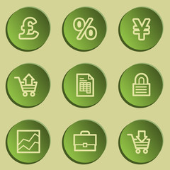 E-business web icons, green paper stickers set