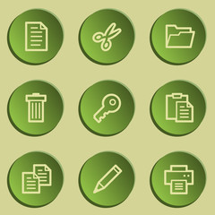 Document web icon set 1 , green paper stickers set
