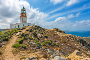 Armenistis lighthouse on the island of Mykonos