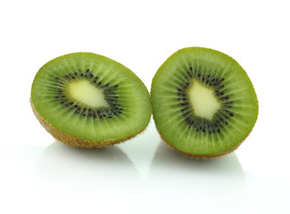 Slide of Kiwi fruit isolated on white background