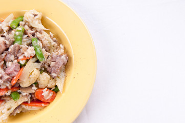 lamb risotto with fresh vegetables