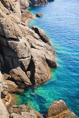 Rocky coast with clean blue see-through water. Portofino Italy