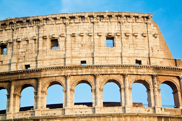 Close up view of the Coliseum. Rome Italy.