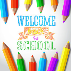 Welcome back to school hand-drawn greeting with color pencils.