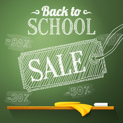 Back to school sale on the chalkboard with different sale