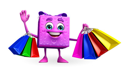 Gift Box Character with shopping bag