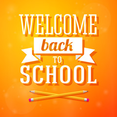 Welcome back to school greeting card with crossed pencils on