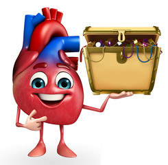 Heart character with treasure box