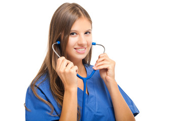 Female doctor using the stethoscope