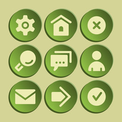 Basic web icons set. Green sticker.
