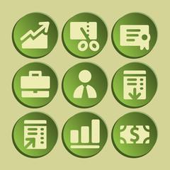 Finance web icons set. Green sticker.