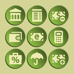 Finance web icons set. Green sticker.