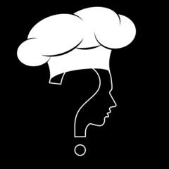 Chef, question mark human head symbol, vector