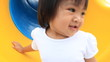 Baby having fun on playground , out door slider