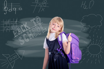 Portrait of beautiful schoolgirl, School and Education