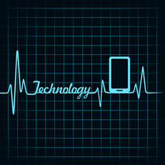 Medical technology concept -heartbeat smartphone icon