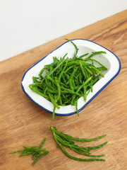 rock samphire on a wooden table
