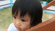 little girl has fun in playground
