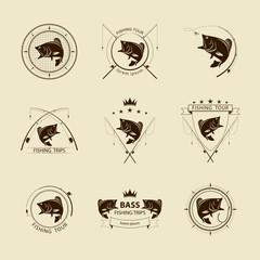vector fishing symbol set