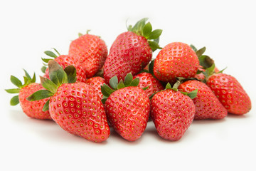 pile of strawberry close-up isolated