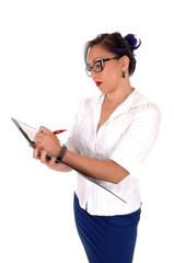 Business women writing.