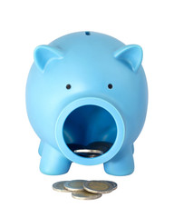 Blue piggy bank with coins isolated on white background.