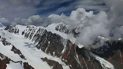 Stock Video Footage Alpine Flying Aktru Glacier