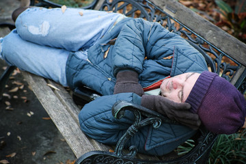 Homeless on Park Bench