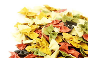Colorful Italian pasta isolated on a white background