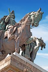 Nahaufnahme des Reiterstandbildes auf demDeutschen Eck, Koblenz