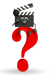 Clapper Board Character with question mark