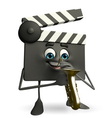 Clapper Board Character with Trumpet