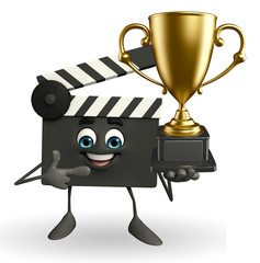 Clapper Board Character with trophy