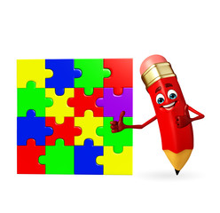Pencil Character with puzzel