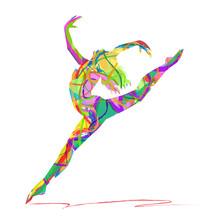 Silhuett ballerina sammansatt av färger