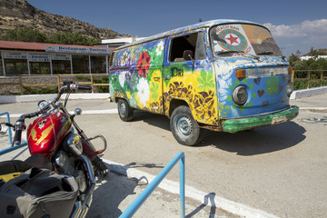 hippie bus symbol of Matala city on Crete