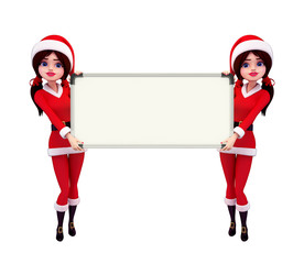 Santa Girl Character with display board