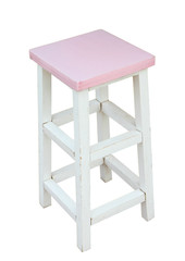 White and pink wooden stool isolated by hand made, clipping path