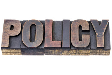policy word in wood type