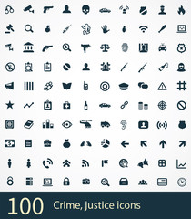 100 crime, justice icons set.