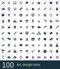 100 art, design icons set.