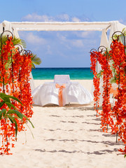 Wedding preparation on Mexican beach