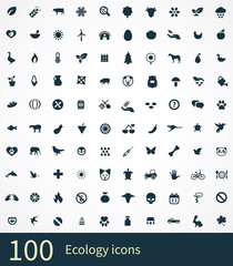 100 ecology icons set
