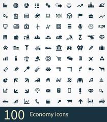 100 economy icons set.