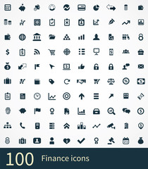 100 finance icons set.