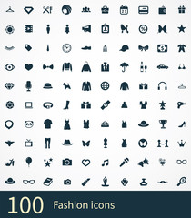 100 fashion icons set.