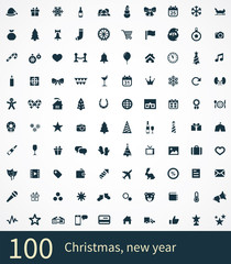 100 new year icons set