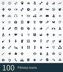 100 fitness icons set.