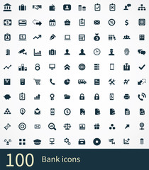 100 bank icons set.