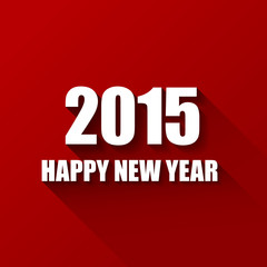 Modern red simple Happy new year card (2015)